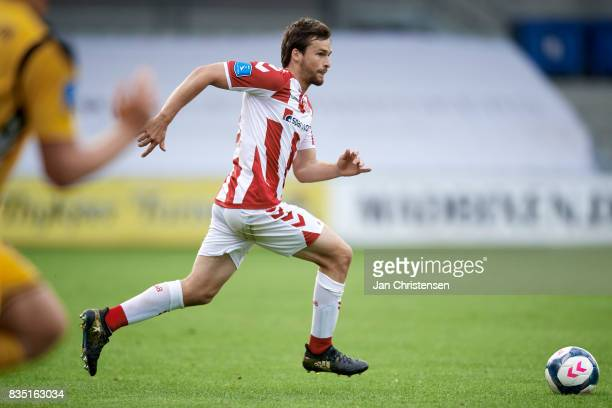 Filip Lesniak of AaB Aalborg controls the ball during the Danish Alka Superliga match between AC Horsens and AaB Aalborg at Casa Arena Horsens on...