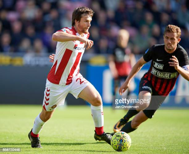 Filip Lesniak of AaB Aalborg controls the ball during the Danish Alka Superliga match between FC Midtjylland and AaB Aalborg at MCH Arena on October...