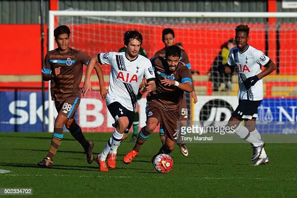 Filip Lesniak of Tottenham Hotspur pushes forward during the Barclays U21 Premier League International Cup match between Tottenham Hotspur U21 and...