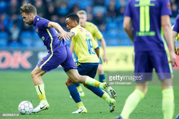Filip Novak of FC Midtjylland and Lebogang Phiri of Brondby IF compete for the ball during the Danish Alka Superliga match between Brondby IF and FC...