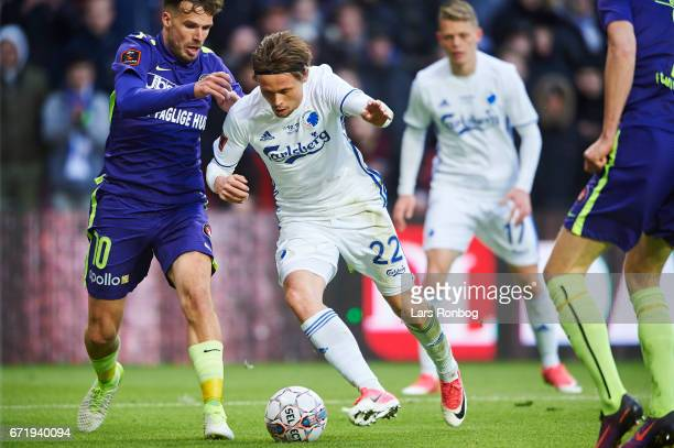 Filip Novak of FC Midtjylland and Peter Ankersen of FC Copenhagen compete for the ball during the Danish Alka Superliga match between FC Copenhagen...