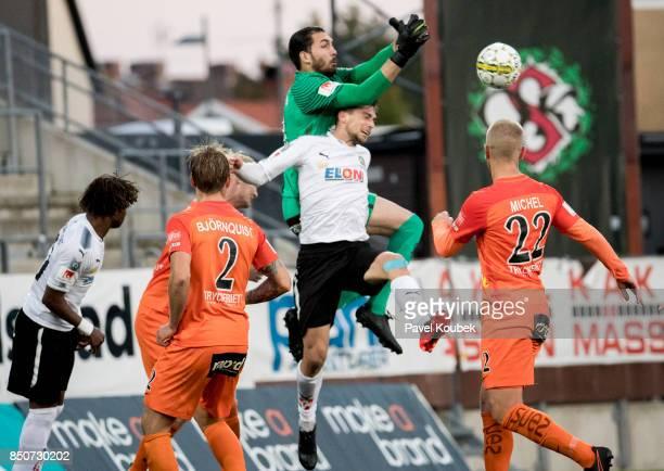 Filip Rogic of Orebro SK Alireza Haghighi goalkeeper of Athletic FC Eskilstuna during the Allsvenskan match between Orebro SK Athletic FC Eskilstuna...