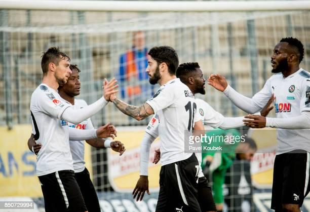 Filip Rogic of Orebro SK celebrates with Nahir Besara of Orebro SK during the Allsvenskan match between Orebro SK Athletic FC Eskilstuna at Behrn...
