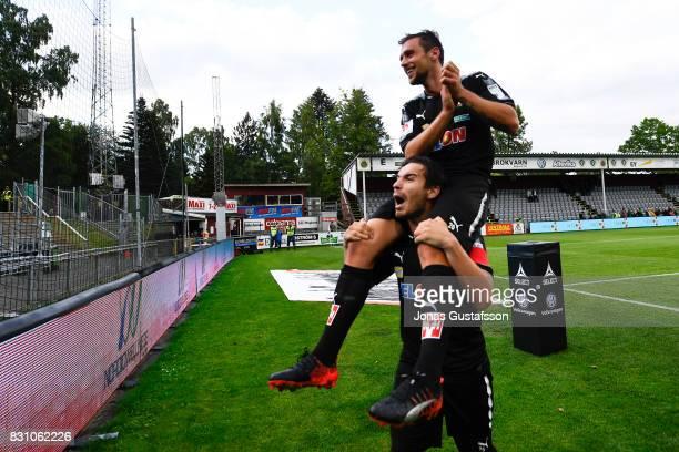Filip Rogic of Orebro SK celebrating with Nordin Gerzic after the victory during the Allsvenskan match between Jonkopings Sodra IF and Orebro SK at...