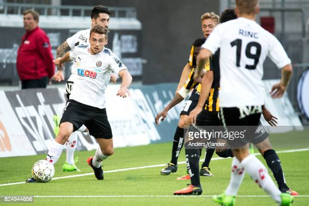 Filip Rogic of Orebro SK controls the ball during the Allsvenskan match between BK Hacken and Orebro SK at Bravida Arena on July 31 2017 in...