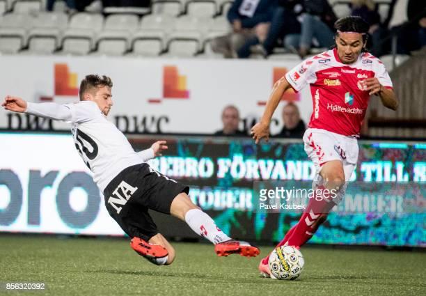 Filip Rogic of Orebro SK Emin Nouri of Kalmar FF during the Allsvenskan match between Orebro SK and Kalmar FF at Behrn Arena on October 1 2017 in...