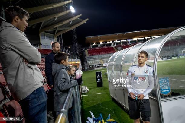 Filip Rogic of Orebro SK is dejected while talking to fans during the Allsvenskan match between Orebro SK Athletic FC Eskilstuna at Behrn Arena on...