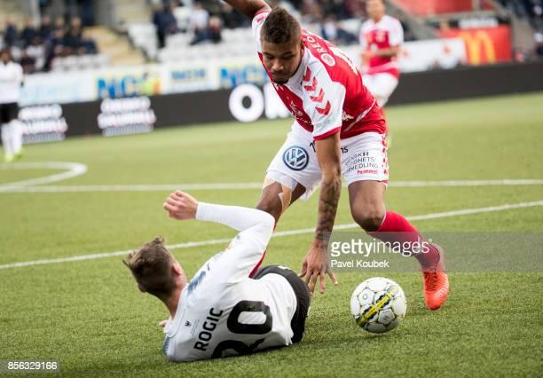Filip Rogic of Orebro SK Mikael Dyrestam of Kalmar FF during the Allsvenskan match between Orebro SK and Kalmar FF at Behrn Arena on October 1 2017...