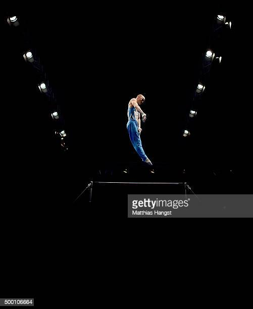 Filip Ude of KTV Straubenhardt competes in the High Bar during the Men's DTL Finals 2015 at Messehalle 2 on December 5 2015 in Karlsruhe Germany