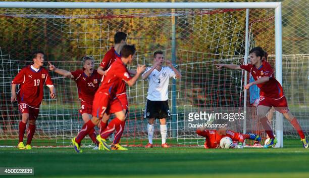 Filip Zorvan of Czech Republic celebrates the team's first goal during the U18 international friendly match between Czech Republic and Germany on...