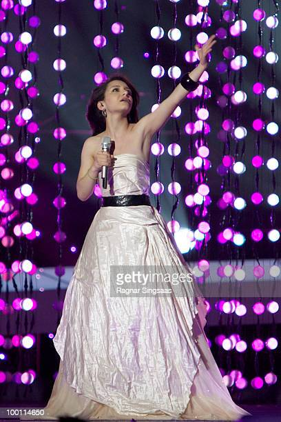 Filipa Azevedo of Portugal performs at the open rehearsal at the Telenor Arena on May 21 2010 in Oslo Norway In all 39 countries will take part in...