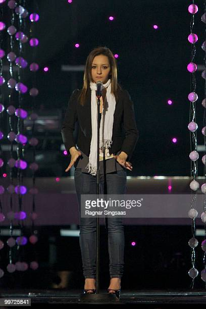 Filipa Azevedo of Portugal performs at the open rehearsal at the Telenor Arena on May 17 2010 in Oslo Norway 39 countries will take part in the 55th...