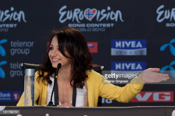 Filipa Azevedo of Portugal performs during a press conference at the Telenor Arena on May 21 2010 in Oslo Norway 39 countries will take part in the...