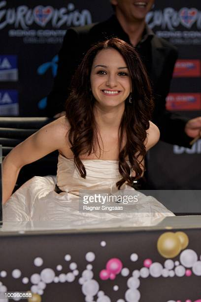 Filipa Azevedo of Portugal s during a press conference after the first semi final at the Telenor Arena on May 25 2010 in Oslo Norway In all 39...