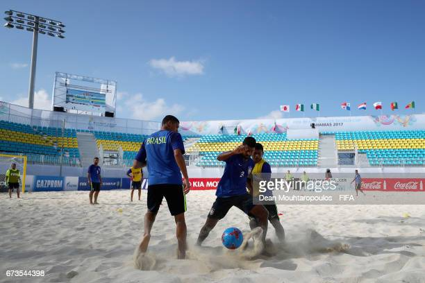 Filipe and Datinha battle for the ball during the Brazil training session before the FIFA Beach Soccer World Cup Bahamas 2017 at National Beach...