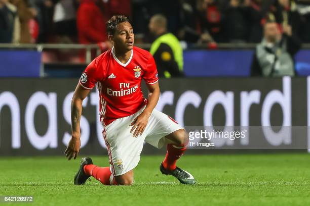 Filipe Augusto of Benfica gestures during the UEFA Champions League Round of 16 First Leg match between SL Benfica and Borussia Dortmund at Estadio...