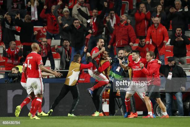Filipe Augusto of SL Benfica Luisao of SL Benfica Konstantinos Mitroglou of SL Benfica Pizzi of SL Benficaduring the UEFA Champions League round of...
