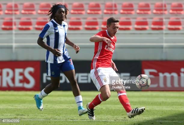 Filipe Ferreira of SL Benfica B with Joris Kayembe of FC Porto B in action during the Segunda Liga match between SL Benfica B and FC Porto B at Caixa...