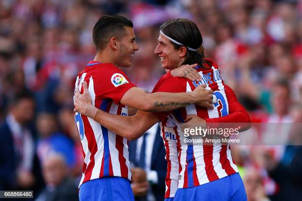 Filipe Luis of Atletico de Madrid celebrates scoring their third goal with teammate Lucas Hernandez during the La Liga match between Club Atletico de...