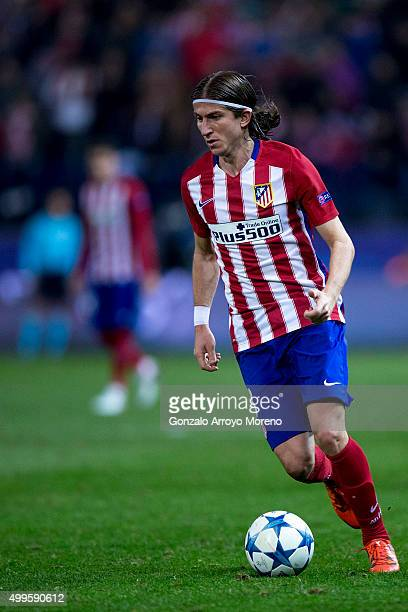 Filipe Luis of Atletico de Madrid controls the ball during the UEFA Champions League Group C match between Club Atletico de Madrid and Galatasaray AS...