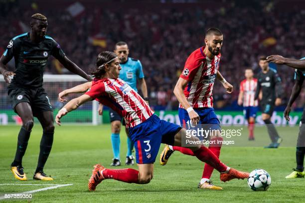 Filipe Luis of Atletico de Madrid in action during the UEFA Champions League 201718 match between Atletico de Madrid and Chelsea FC at the Wanda...