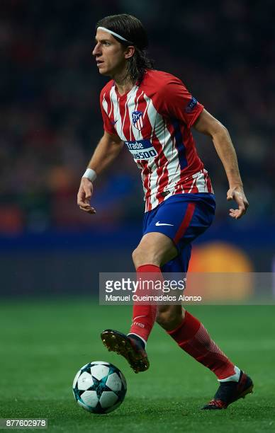 Filipe Luis of Atletico de Madrid in action during the UEFA Champions League group C match between Atletico Madrid and AS Roma at Estadio Wanda...