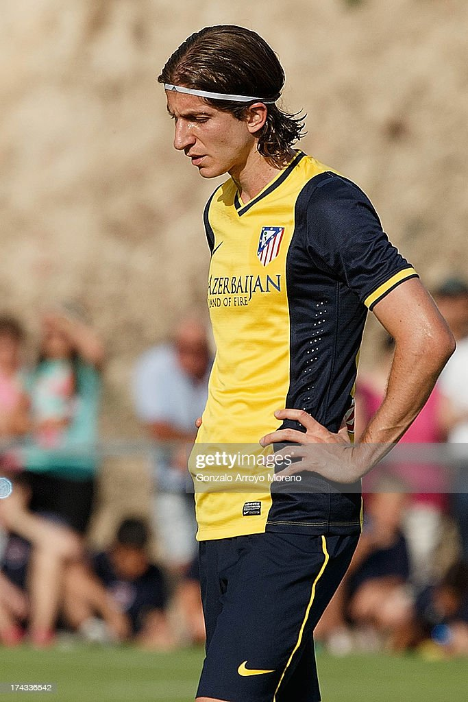 Filipe Luis of Atletico de Madrid reacts during the Jesus Gil y Gil Trophy between Club Atletico de Madrid and Numancia C. D. at Sporting Club Uxama on July 21, 2013 in Burgo de Osma, Soria, Spain.