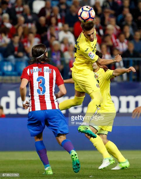 Filipe Luis of Atletico Madrid and Samu Castillejo of Villarreal battle for the ball during the La Liga match between Club Atletico de Madrid and...