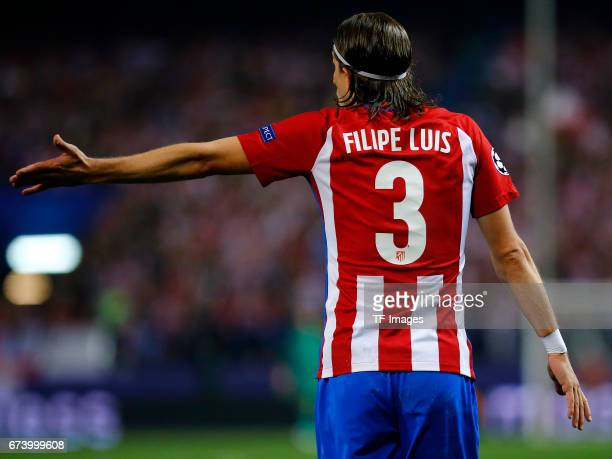 Filipe Luis of Atletico Madrid gestures during the UEFA Champions League Quarter Final first leg match between Club Atletico de Madrid and Leicester...