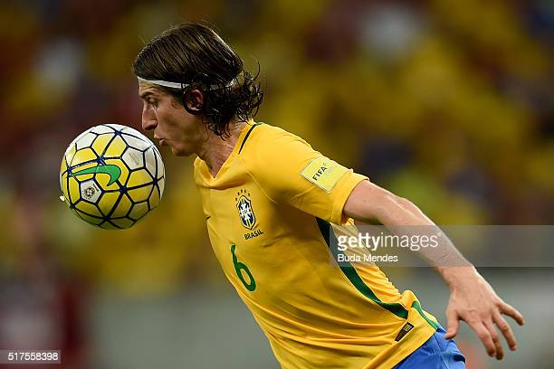 Filipe Luis of Brazil in action during a match between Brazil and Uruguay as part of 2018 FIFA World Cup Russia Qualifiers at Arena Pernanbuco on...