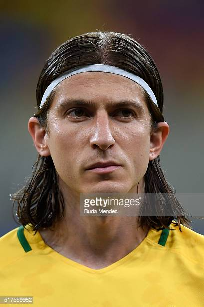 Filipe Luis of Brazil looks on during a match between Brazil and Uruguay as part of 2018 FIFA World Cup Russia Qualifiers at Arena Pernanbuco on...