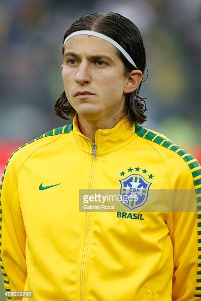 Filipe Luis of Brazil looks on during the national anthem ceremony prior the 2015 Copa America Chile Group C match between Brazil and Venezuela at...