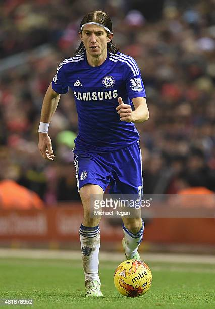 Filipe Luis of Chelsea in action during the Capital One Cup SemiFinal first leg match between Liverpool and Chelsea at Anfield on January 20 2015 in...