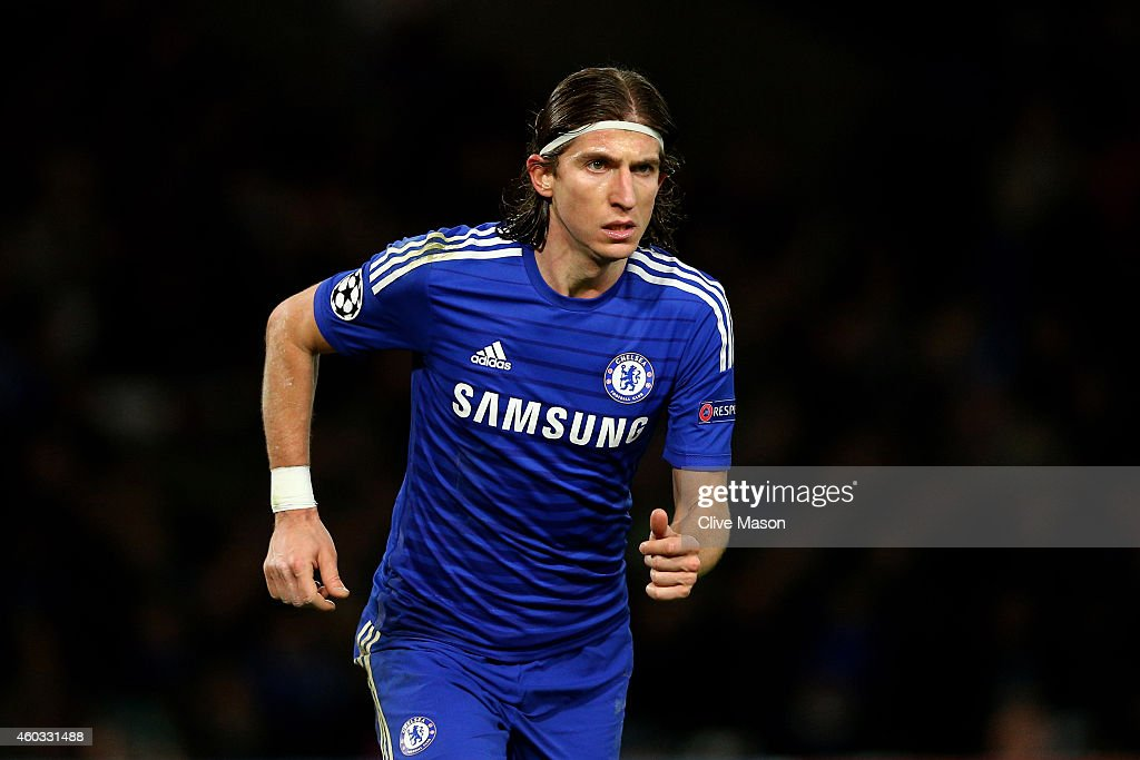 <a gi-track='captionPersonalityLinkClicked' href=/galleries/search?phrase=Filipe+Luis&family=editorial&specificpeople=3941966 ng-click='$event.stopPropagation()'>Filipe Luis</a> of Chelsea in action during the UEFA Champions League group G match between Chelsea and Sporting Clube de Portugal at Stamford Bridge on December 10, 2014 in London, United Kingdom.