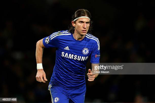 Filipe Luis of Chelsea in action during the UEFA Champions League group G match between Chelsea and Sporting Clube de Portugal at Stamford Bridge on...