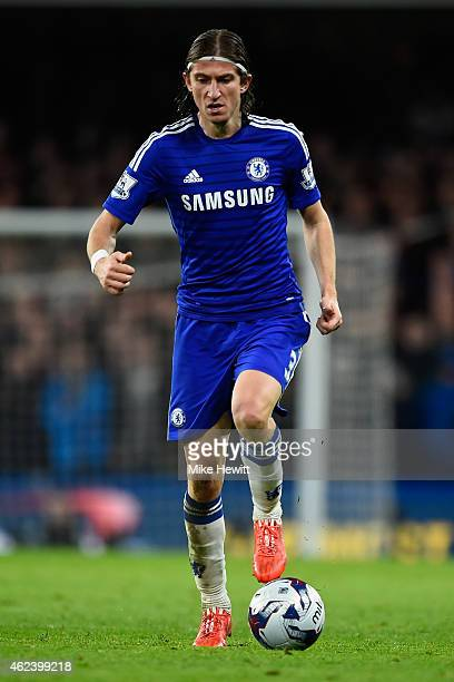 Filipe Luis of Chelsea on the ball during the Capital One Cup SemiFinal second leg between Chelsea and Liverpool at Stamford Bridge on January 27...