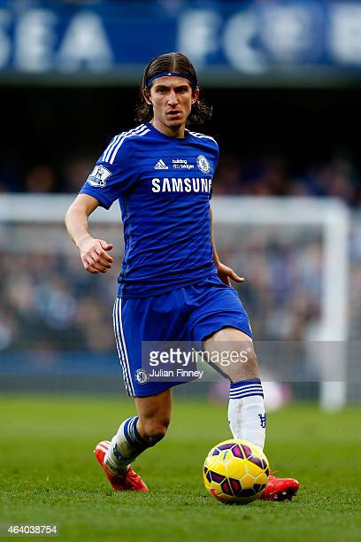 Filipe Luis of Chelsea passes the ball during the Barclays Premier League match between Chelsea and Burnley at Stamford Bridge on February 21 2015 in...