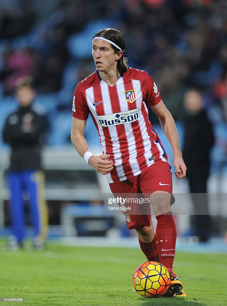 Felipe Luis of Club Atletico de Madrid in action during the La Liga match between Getafe CF and Club Atletico de Madrid at Coliseum Alfonso Perez on February 14, 2016 in Getafe, Spain.