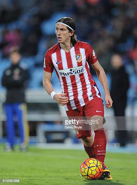 Felipe Luis of Club Atletico de Madrid in action during the La Liga match between Getafe CF and Club Atletico de Madrid at Coliseum Alfonso Perez on...