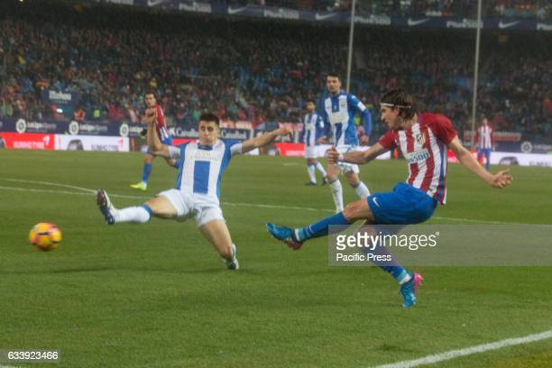 Filipe Luis shoot to goal Atletico de Madrid wons 2 to 0 in the South Madrid Derby over CD Leganes two Goals of Fernando Torres