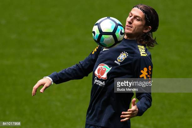 Filipe Luis takes part in a training session at the Arena do Gremio on August 30 2017 in Porto Alegre Brazil ahead of their 2018 FIFA World Cup...