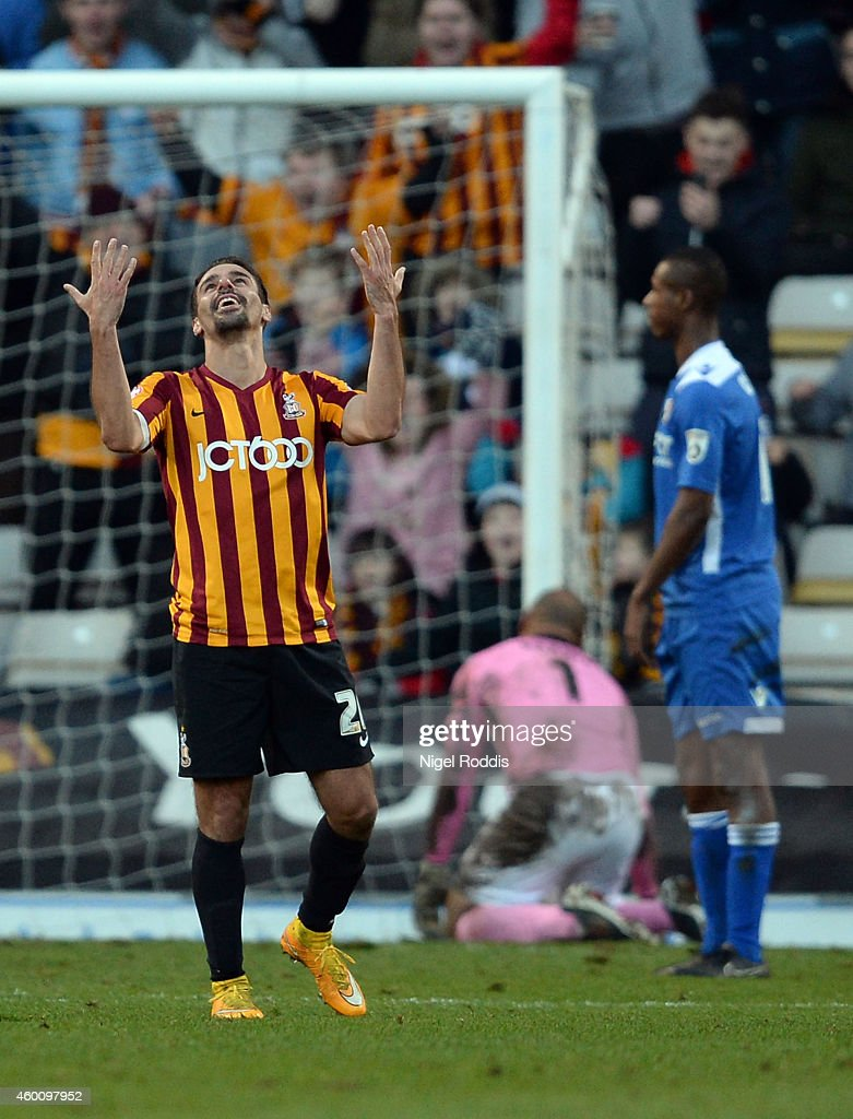 Filipe Morais (L) of Bradford City celebrates scoring during the FA Cup Second Round football match between Bradford City and Dartford at Coral Windows Stadium, Valley Parade on December 7, 2014 in Bradford, England.