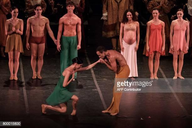 Filipe Moreira and Claudia Mota principal dancers at the Rio de Janeiro ballet take a bow after their performance of Carl Orff's 'Carmina Burana' at...