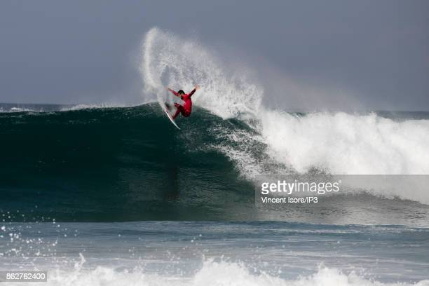Filipe Toledo from Brazil performs during the Quicksilver Pro France surf competition on October 12 2017 in Hossegor France he French stage of the...
