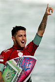 Filipe Toledo of Brazil celebrates his win during the Final of the Oi Rio Pro on May 17 2015 in Rio de Janeiro Brazil