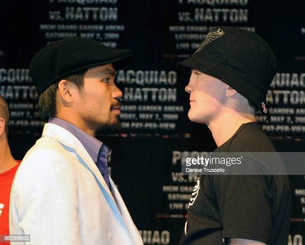 Filipino boxer Manny 'PacMan' Pacquiao and British boxer Ricky Hatton pose for photos at the Pacquia v Hatton press conference at MGM Grand on April...