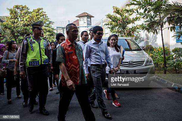 Filipino boxing icon Manny Pacquiao arrives at Wirogunan prison to meet convicted drug trafficker Mary Jane Veloso of the Philippines on July 10 2015...