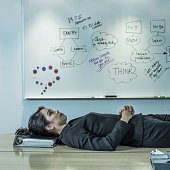 Filipino businesswoman laying on desk