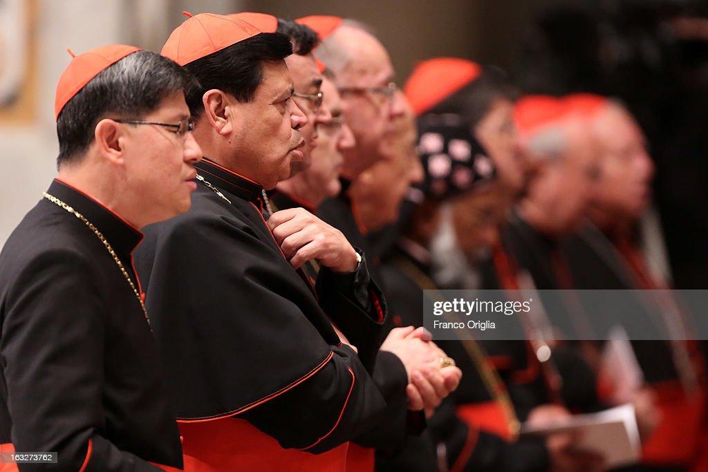 Filipino cardinal Luis Antonio Tagle and archbishop of Mexico City cardinal Norberto Rivera Carrera attend a meeting of prayer at St Peter's Basilica...