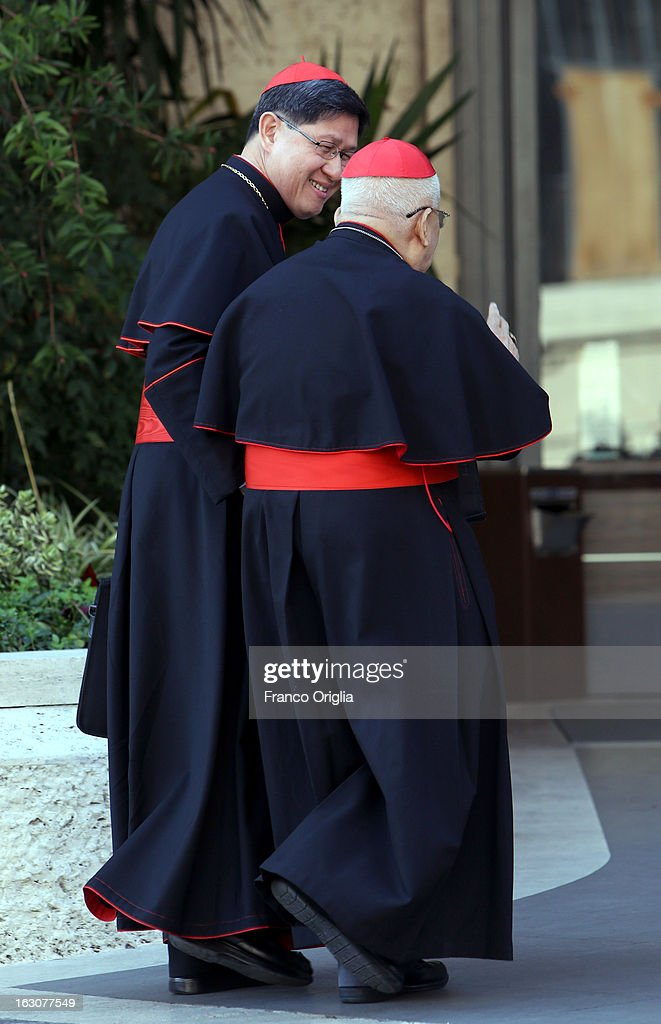 Filipino cardinal Luis Antonio Tagle arrives at the Paul VI hall for the opening of the Cardinals' Congregations on March 4 2013 in Vatican City...